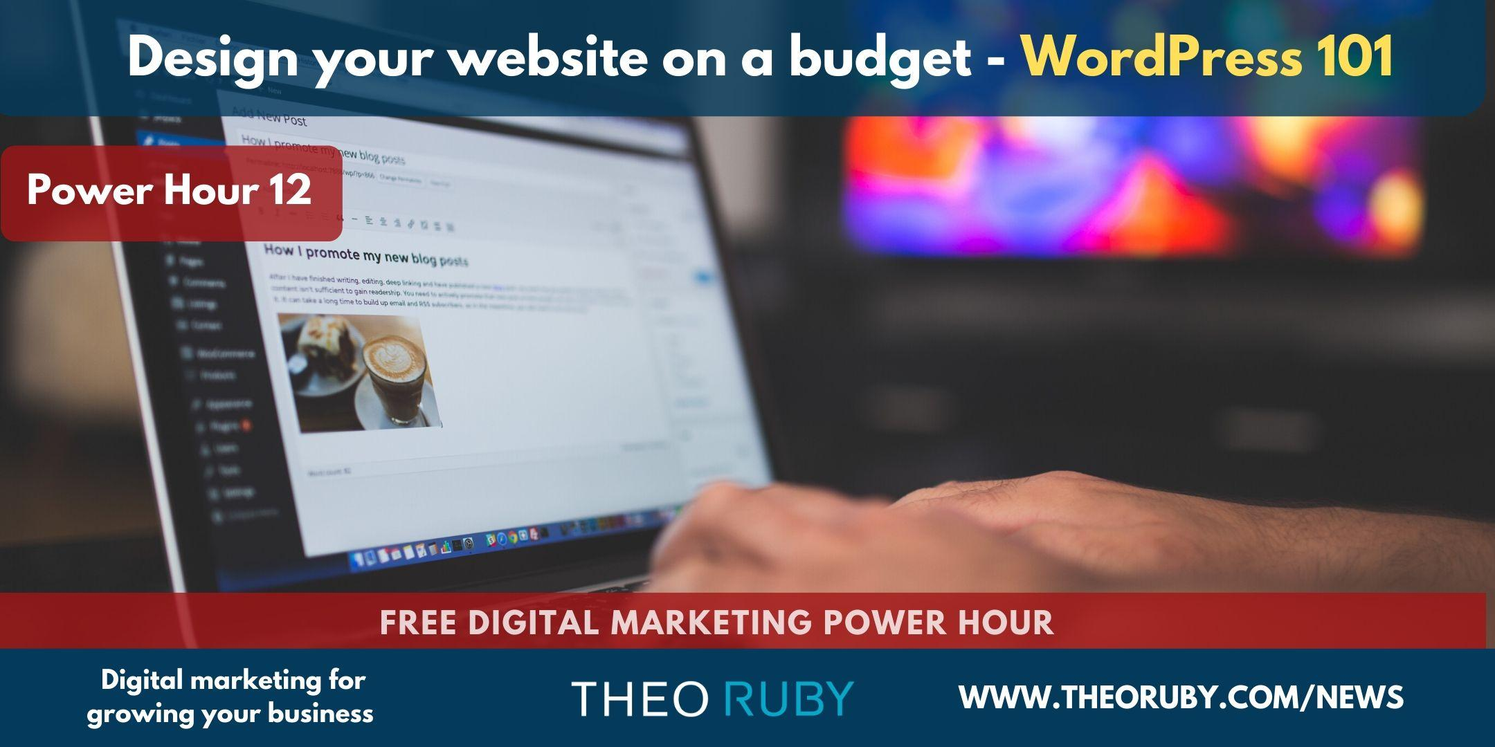Design your website on a budget - WordPress 101 - Free demo site included 1